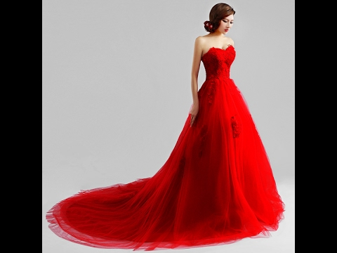 Latest Beautiful Red color Long Wedding Bridal Designer dress design ...