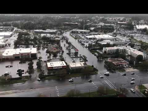Helicopter footage of flood in Wilmington NC after Hurricane Florence