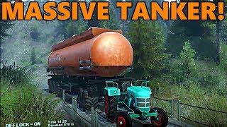 Spin Tires TINY Tractor vs MASSIVE TANKER!