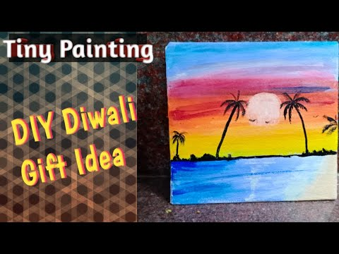 Step by step sunset painting/painting for Beginners! DIY diwali gift idea! #SNEHAL WAVARE