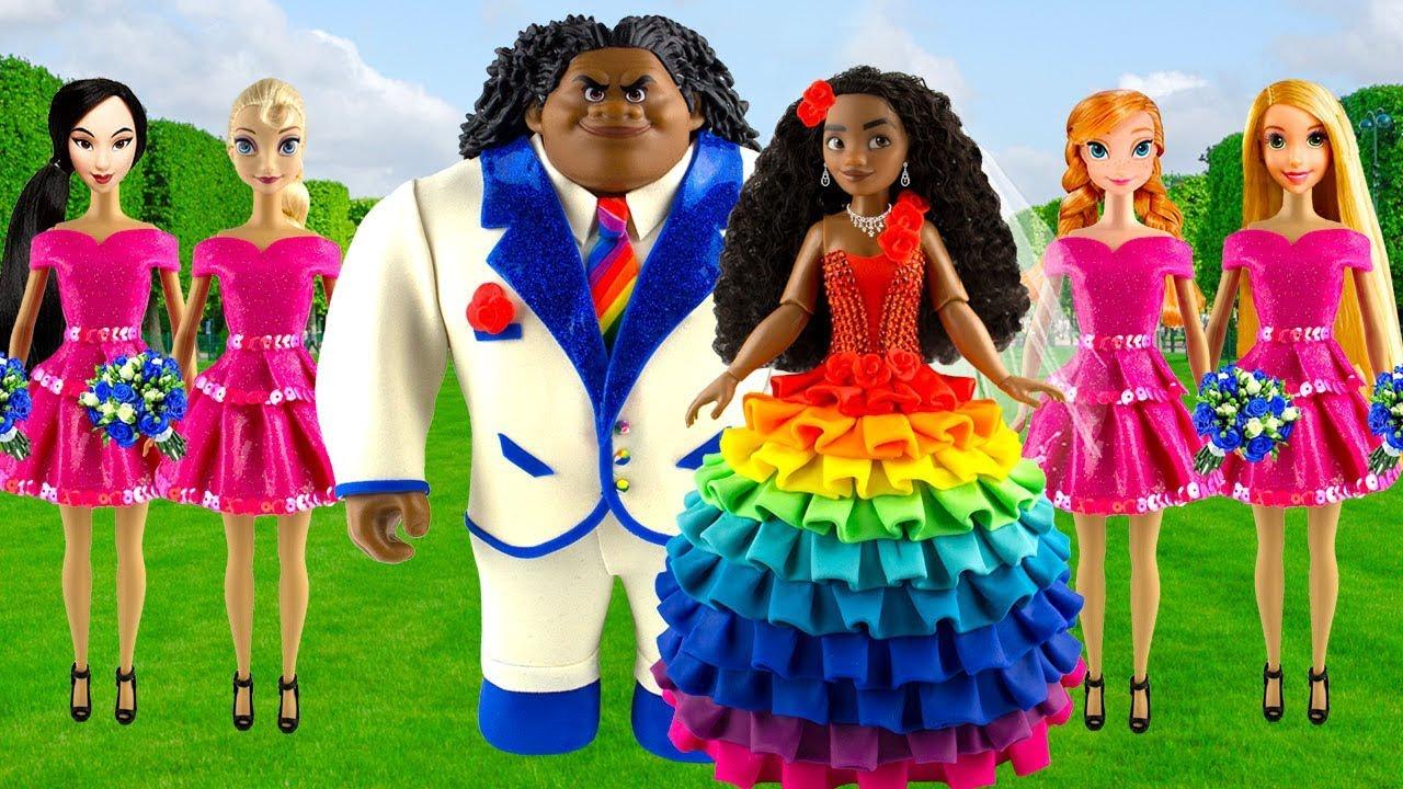 Play Doh Rainbow Disney Princess Moana Maui Wedding Dress