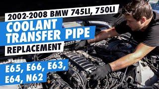 DIY 2002-2008 bmw 745li, 750li coolant transfer pipe replacement, e65, e66,  e63, e64, n62 engine - YouTubeYouTube