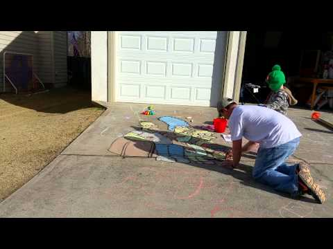 Time Lapse Sidewalk Chalk Drawing of The Simpsons
