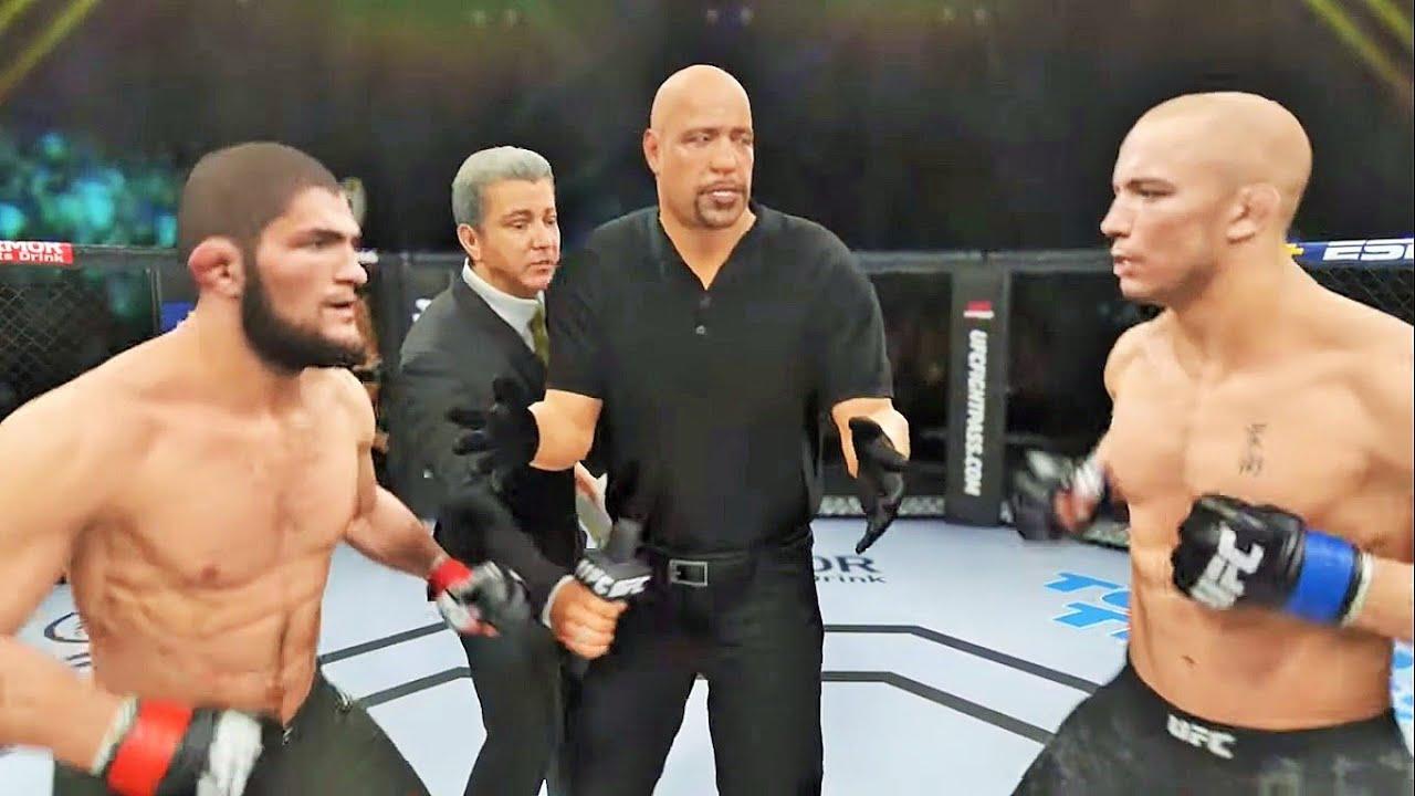 Khabib Nurmagomedov vs Georges St-Pierre Full Fight - UFC 4 Simulation