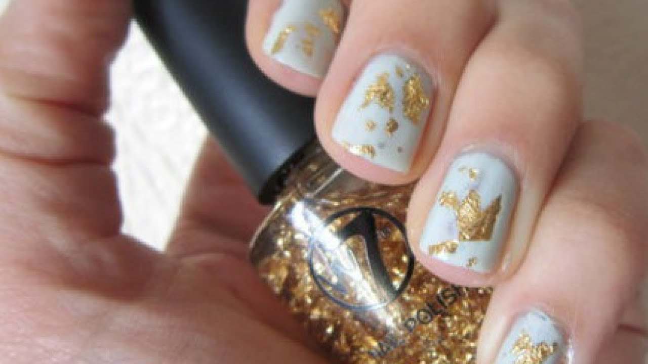 Create Pretty Gold-Leaf Nail Polish - Beauty - Guidecentral - YouTube