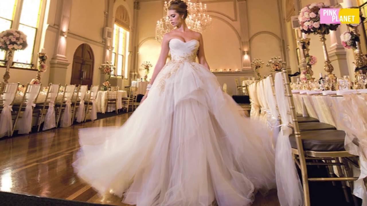 655947c97 اشهر 10 فساتين زفاف لمشاهير فى العالم - YouTube