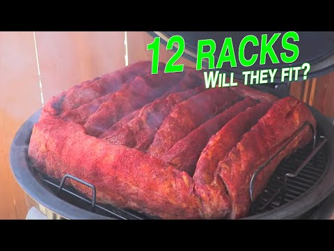 12 racks of ribs on the Weber Summit Charcoal Grill at once time! Smoked baby back ribs