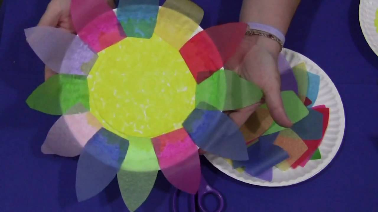 Paper Plate And Tissue Paper Flower Youtube