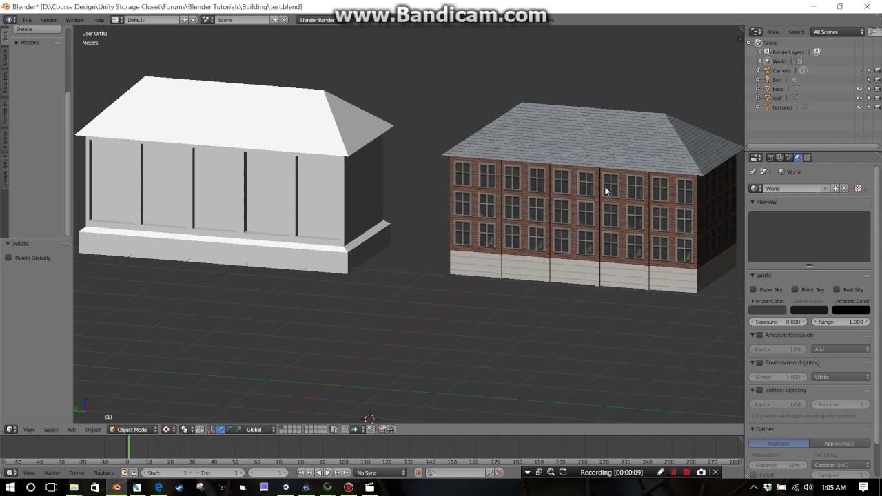 Blender - 6 buildings/roof types - Part 3