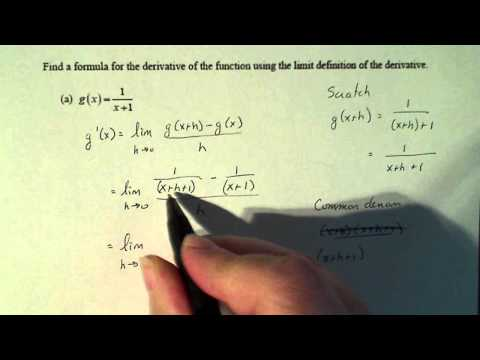 Calculus 1:  Finding the Derivative of a Function Using the Limit Definition