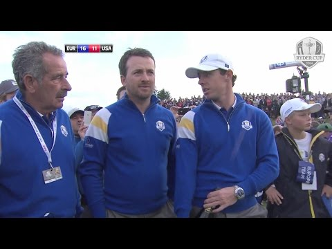 Rory McIlroy - funny reaction - accidental champagne cork popping