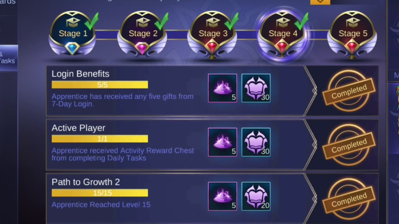 mentor program stage 1 through 5 | mobile legends: bang bang!