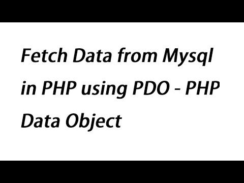 Fetch Data from Mysql in PHP using PDO