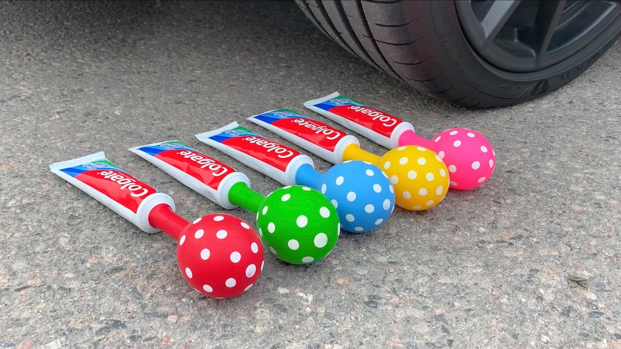 Crushing Crunchy & Soft Things by Car! EXPERIMENT: Car vs Toothpaste with Balloons