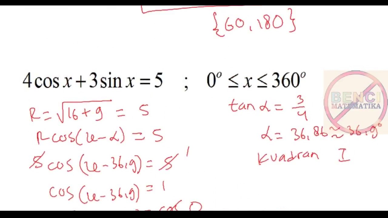 Persamaan Trigonometri Bentuk Acosx Bsinx C Youtube