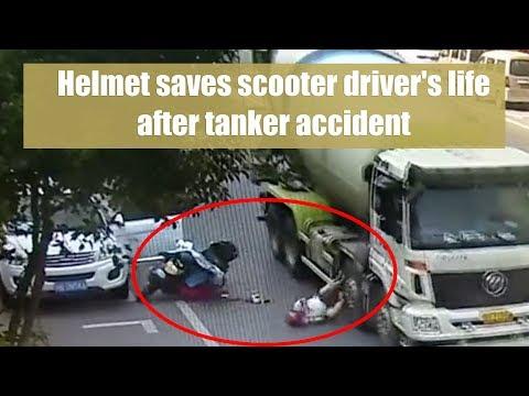 Helmet saves scooter