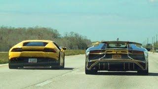 BullFest 2016 80+ lambos 120 miles Supercars BLASTING Adrenaline Rush! Lamborghini VS Lamborghini