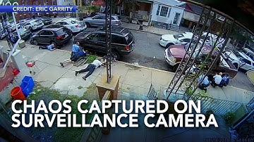 Philadelphia shooting chaos captured on neighbor's home surveillance camera
