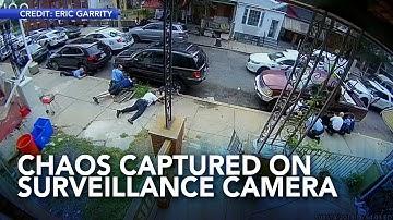 Philadelphia shooting chaos captured on neighbor's home surveillance camera