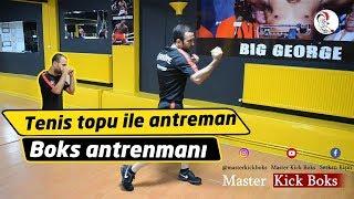 Tenis topuyla kick boks antrenmanı / Boxing training with tennis ball