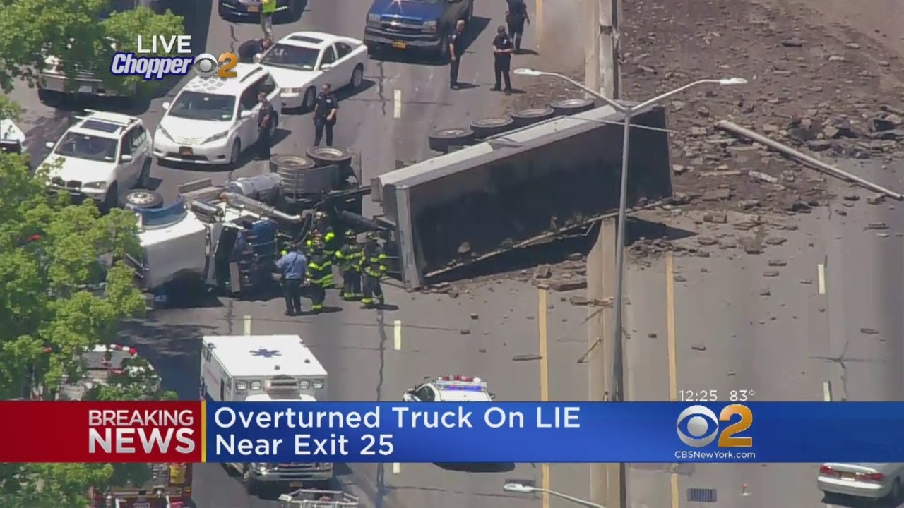 Overturned Truck On Long Island Expressway