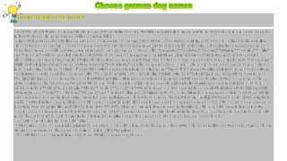 How to : Choose german dog names