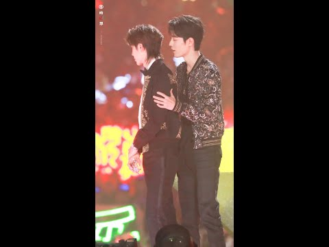 【bjyx】sweet moments of xiao zhan and yibo on 12.28 tencent video all star awards 2019