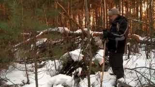 Как сделать односкатный шалаш в зимнем лесу