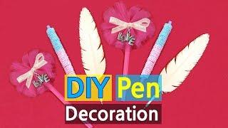 3 Pen DIYs - How to Decorate Pens | How to make quill pen, bead pen, bow pen (ball Pen Design Ideas)