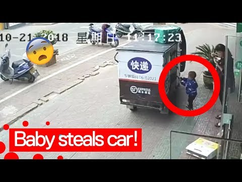 2 year old kid steals vehicle and drives off!