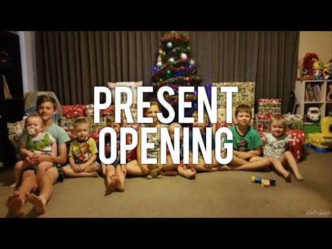 Christmas Day - Opening Presents with 10 kids