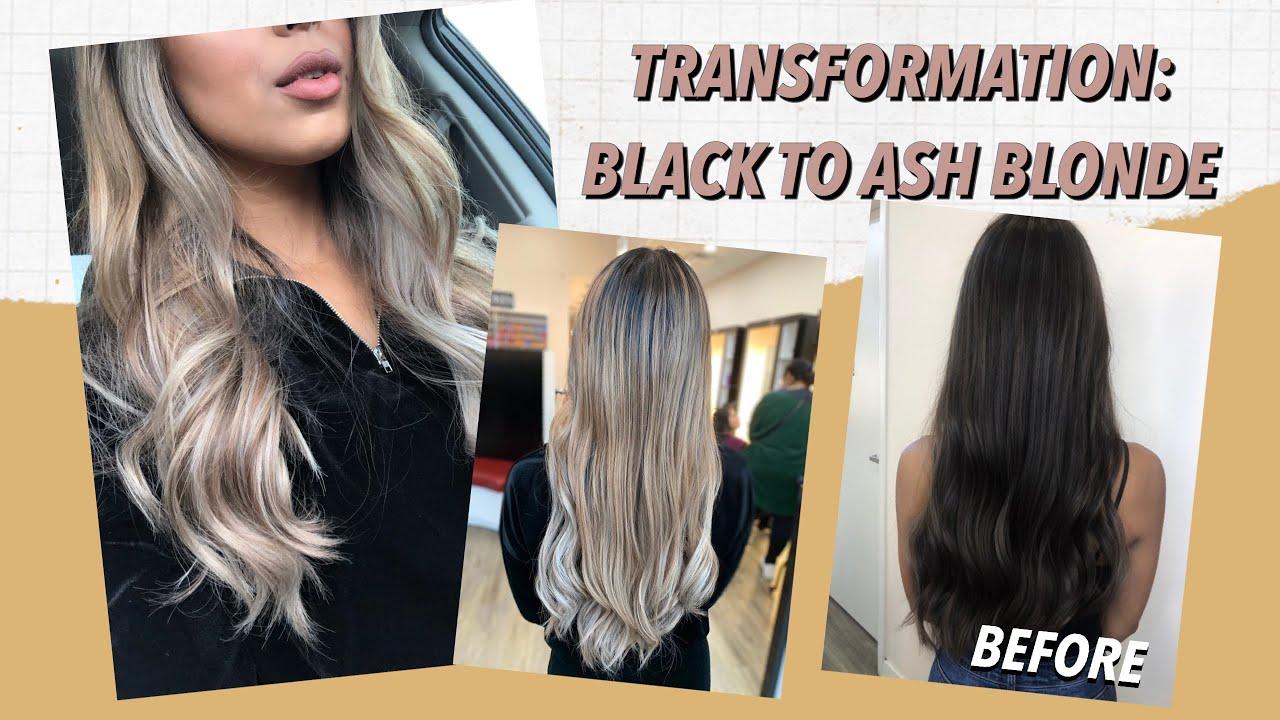 MY NEW HAIR Black to Ash Blonde Balayage