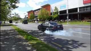 Tuners, JDM, Muscle and Supercars leaving car show (Burnouts, Powerslides) in Auckland, New Zealand
