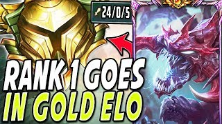RANK 1 CHO'GATH GOES IN GOLD ???? 24 KILLS CLEAN 4V5 SOLO CARRY ???? BEST CHOGATH BUILD League of Legends