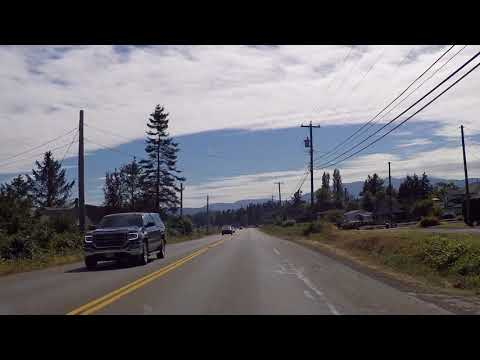 Driving towards COMOX & COURTENAY BC Canada from CAMPBELL RIVER - Vancouver Island Coast