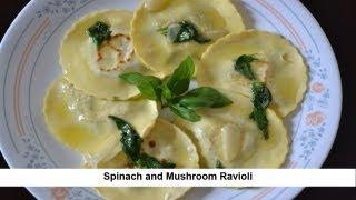 Spinach and Mushroom Ravioli Experiment