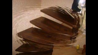 Поворотная лестница на металлическом каркасе.(Лестница на сварном каркасе из металла,ступени из дуба. клееные. Тонировка-бейц нитро., 2016-02-14T19:33:29.000Z)
