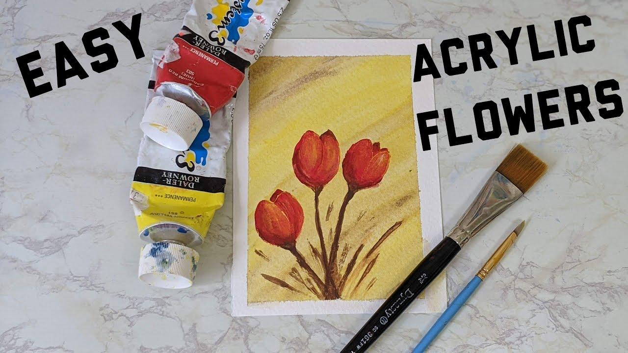 Beginner Acrylic Painting   Easy Flower Painting - YouTube