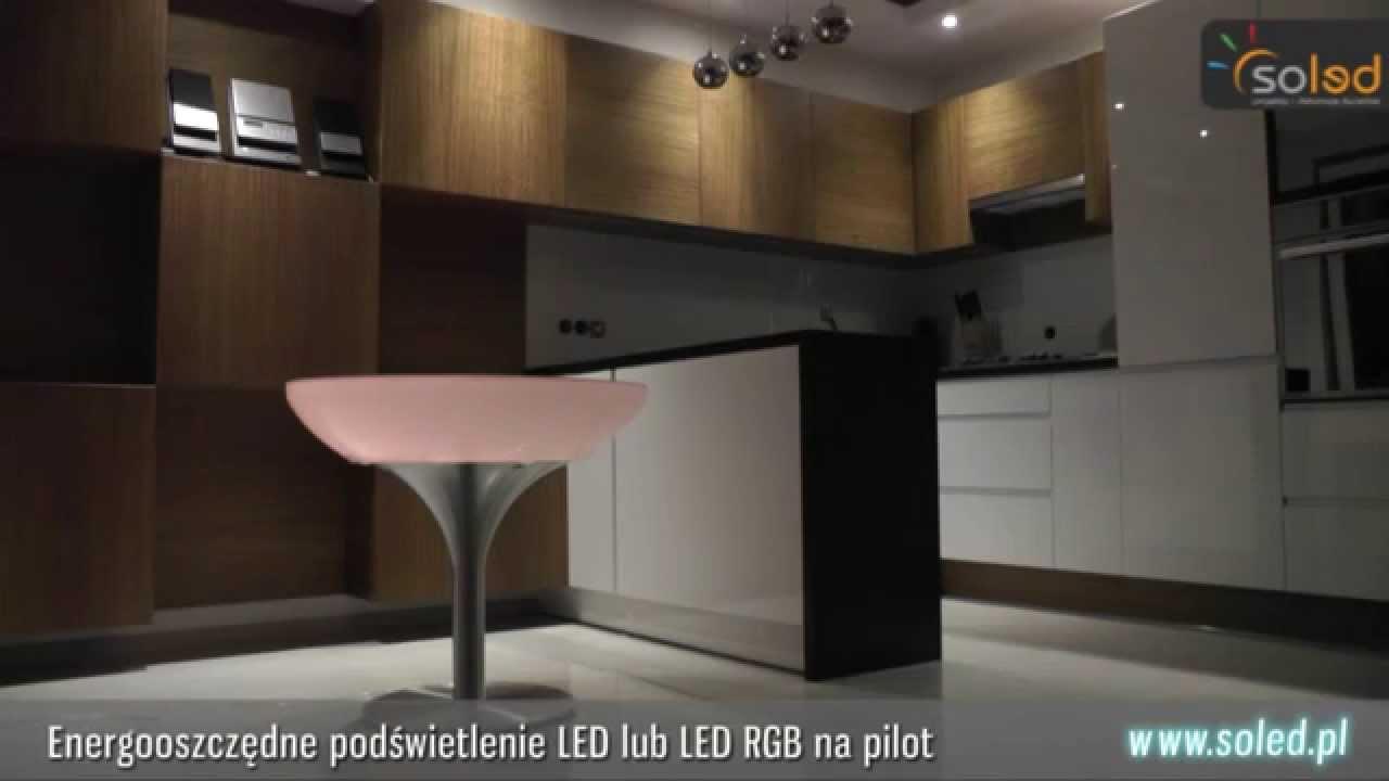 Stolik podświetlany LED Lounge Tish - sterowanie oświetlenie pilotem