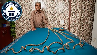 Longest fingernails on a single hand (ever) - Guinness World Records thumbnail