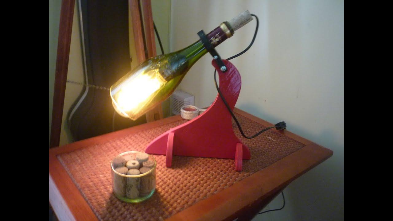 Como hacer l mpara botella de vidrio youtube - Como hacer una lampara de mesa ...