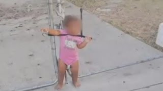 Little Girl Found Tangled and Strapped To Wire Fence By Bungee Cord