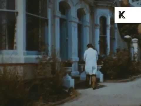 1960s Milkman Delivers Milk to UK House, Colour Archive Footage