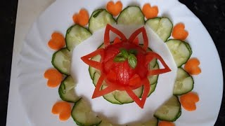 Simple tomato flower with carrots heart and cucumber by Delicious food recipes