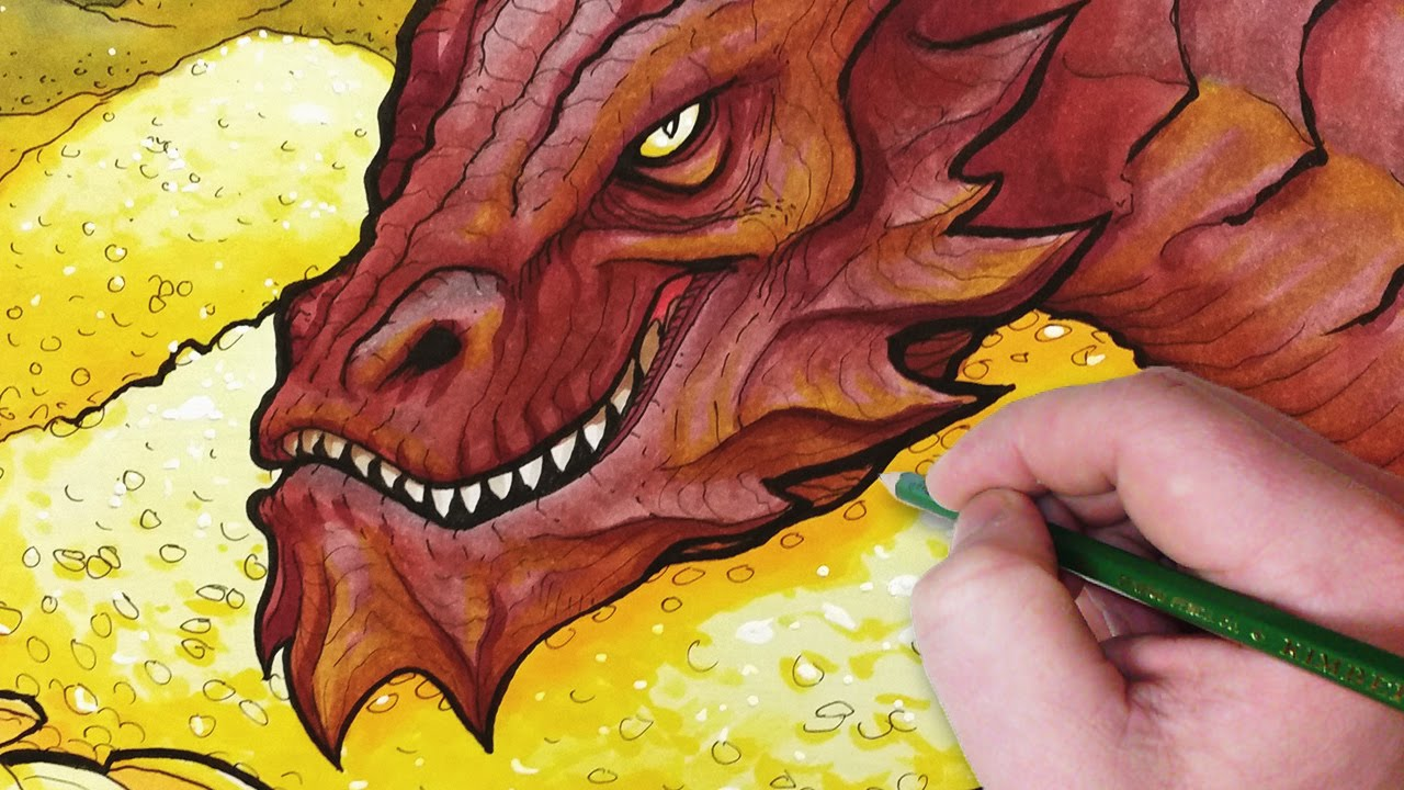 let's draw smaug from the hobbit!  youtube