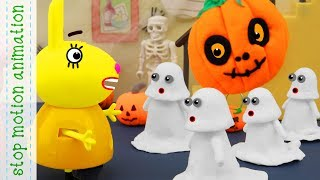 Halloween decorations Peppa Pig tv toys stop motion animationin english