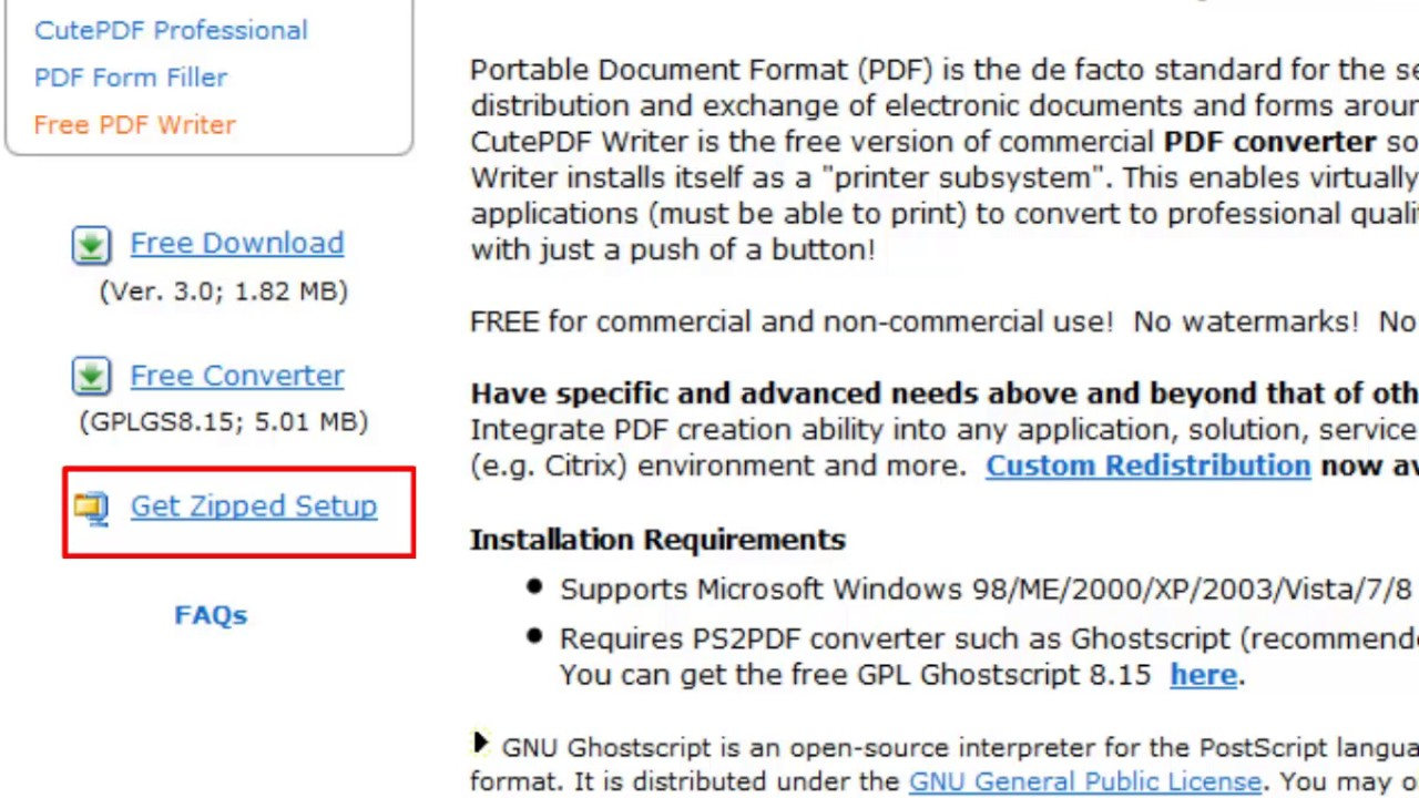Installing and Using CutePDF