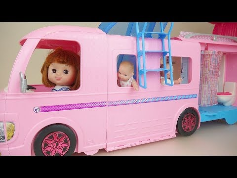 Pink bus and baby doll camping car play baby Doli house