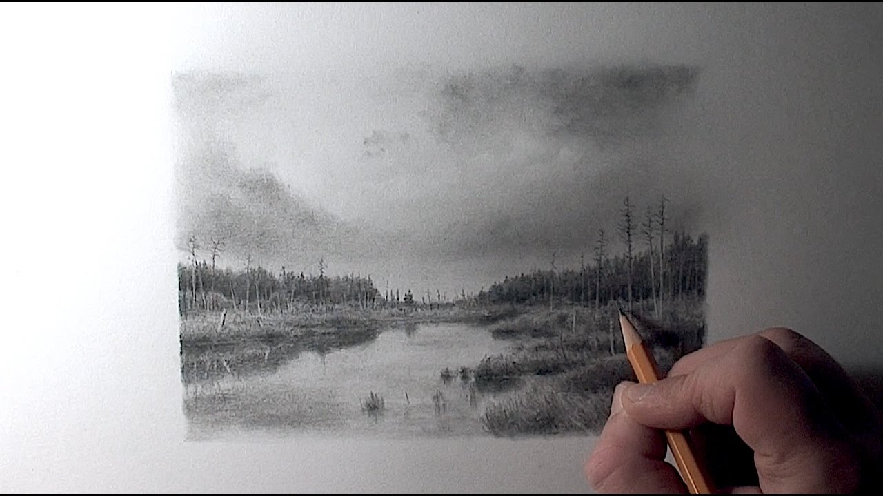 Drawing pencil how to draw a landscape with a river
