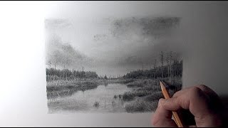 Drawing Pencil | How to Draw a Landscape with a River